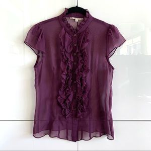 Nanette Lepore Silk Ruffle Front Cap Sleeve Top